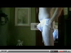 Pantyboy explods in white nylon brief panty