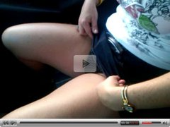 Horny wife Masturbates in the Car
