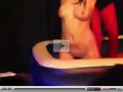Sexy female student is dancing naked nightclub