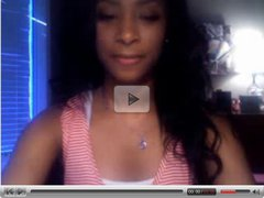 Beautiful black teen playing with me on webcam
