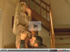 slutty blonde fucked on stair