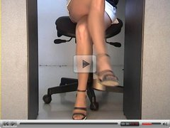 Office girl stocking upskirt