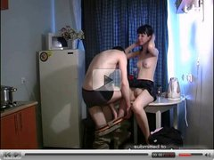 Russian amateur sex on kitchen 2