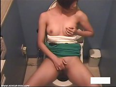 Solo Girl Hairy Pussy Restroom Onanism