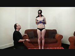 Kinky Honestys amateur bdsm and tit tortures of screaming brunette in debutant punishment session in the european dungeon