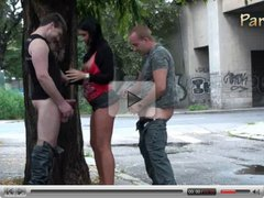 Gangbang - a gangbang group threesome on the street PART 1
