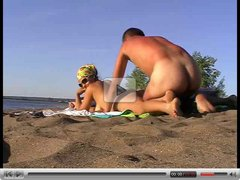 Busty wife banged on the beach