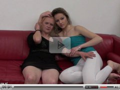 Old amateur lesbian cunt fucks a young girl