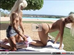 Super hot blond lesbian babes enjoy