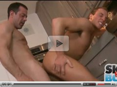Anal Gay Sex in the Kitchen between Mature Man and Young Stu