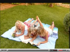 Three Beautiful Young Blonde Lesbians in the Garden