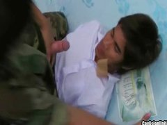 Two horny gays in uniform sucking and fucking