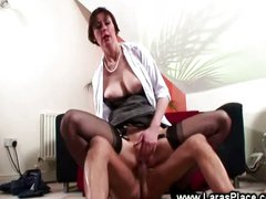 Mature lady fucks a horny old man