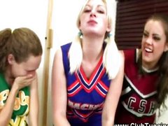 Naughty cheerleader wanking off guy