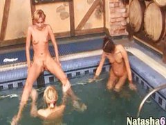 Three russian teens in the pool