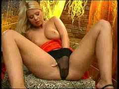 Blonde puts her hand in her panty
