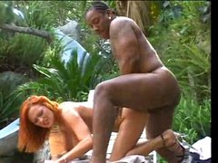 All holes of redhead cry for black dick