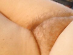 wife laying on the bed naked, hairy pussy,belly,nipple