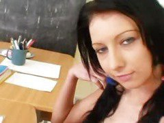 Ponytails school young female immoral twat gaping and fingering