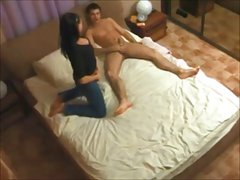 hot brunette wife caught cheating on hidden cam