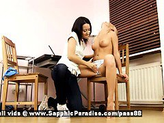 Irie and Audrey blonde and brunette sweet lesbian couple kissing and undressing