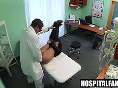 Brunette gets fingered and fucked by her doctor