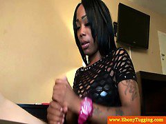 Amateur ebony black spits and jerks dick