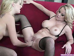 Brea Lynn and Jana Jordan are fishnet wearing blonde