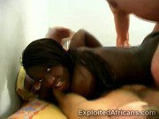 Big booty Afro beauty gets pumped hard in interracial 3some