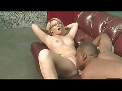 Cute Young Blonde with glasses gets fucked by black guy