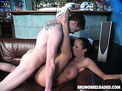 Cock-riding nympho with huge tits fucks with lucky Bruno B.