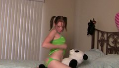 Naive Russian amateur rubs her pussy over a stuffed toy