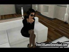 Sexy 3d cartoon business girl goes into the office to suck