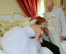 Curvy redhead bride Lucy Belle gets shagged in threesome before wedding