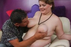 Pale skinned BBW slut with huge boobs is giving quality blowjob