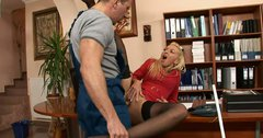Insanely horny lady boss Demi Blue gets fucked hard in her ass by worker
