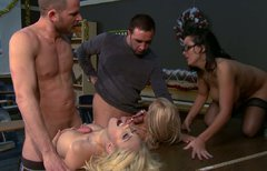 Sienna West, Kagney Linn Karter and Dylan Riley take part in group sex orgy