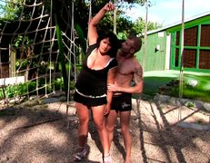 Big boobed BBW brunette MILF gets her muff eaten outdoors