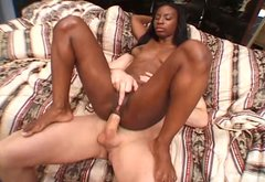 Emotional ebony girl with killer curves enjoys anal sex with white guy