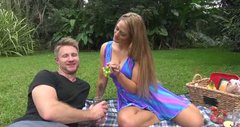 Sexy blonde girl feeds her BF with tasty pussy juice at the picnic outdoor