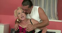 Fat old lady gives her horny lover one hell of a blowjob