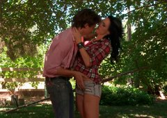 Hot black haired bitch in romantic foreplay with her cocky boy on picnic