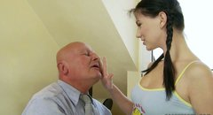 Bald headed old dude sucks nipples of one kinky brunette teen