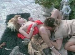 Slender goddess gets her delicious hairy pussy licked in the garden