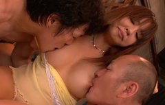 Buxom Japanese whore takes part in mind-blowing MMF threesome