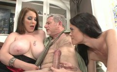 Insatiable whores share one lucky dude in a hot threesome sex video
