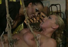 Kinky blonde trollop is tormented in extreme restraint sex scene. BDSM