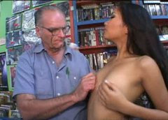 Filthy Asian bitch gives a head to horny daddy in the middle of book store