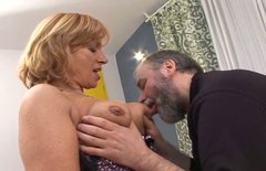 Horny redhead mom with seductive appeal is sucking small cock
