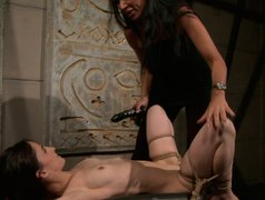 Divine long haired brunette cutie gets bandaged and suspended in BDSM sex scene